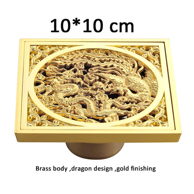 Dragon Design Golden Color Brass Grate Drains Hair Traps For Shower Drain  Drainer Strainer Garage Floor Drains 10*10 Cm