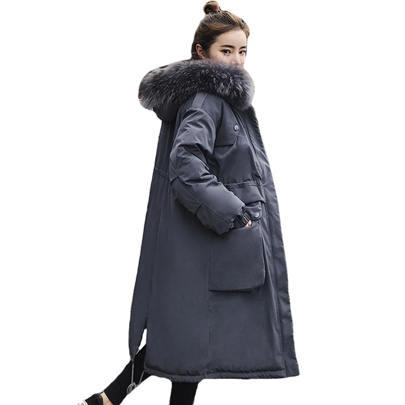 Nueva chaqueta de invierno 2019 para mujer con capucha de piel de gran tamaño de moda abrigo largo acolchado de alta calidad Parka caliente para mujer-in Parkas from Ropa de mujer    1
