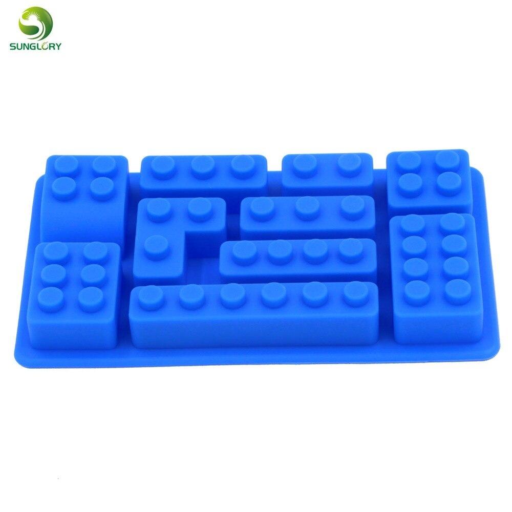 Silicone Ice Mold Blocks Ice Cream Maker 10 Bricks Ice Cream Tools Cream Tubs Tray Bar Tools Silicone Mold Cake Tools Color Blue