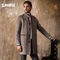 2016 nova chegada dos homens casaco de lã de médio-longo macho espessamento cashmere tamanho grande inverno outerwear trincheira plus size 3XL navio livre