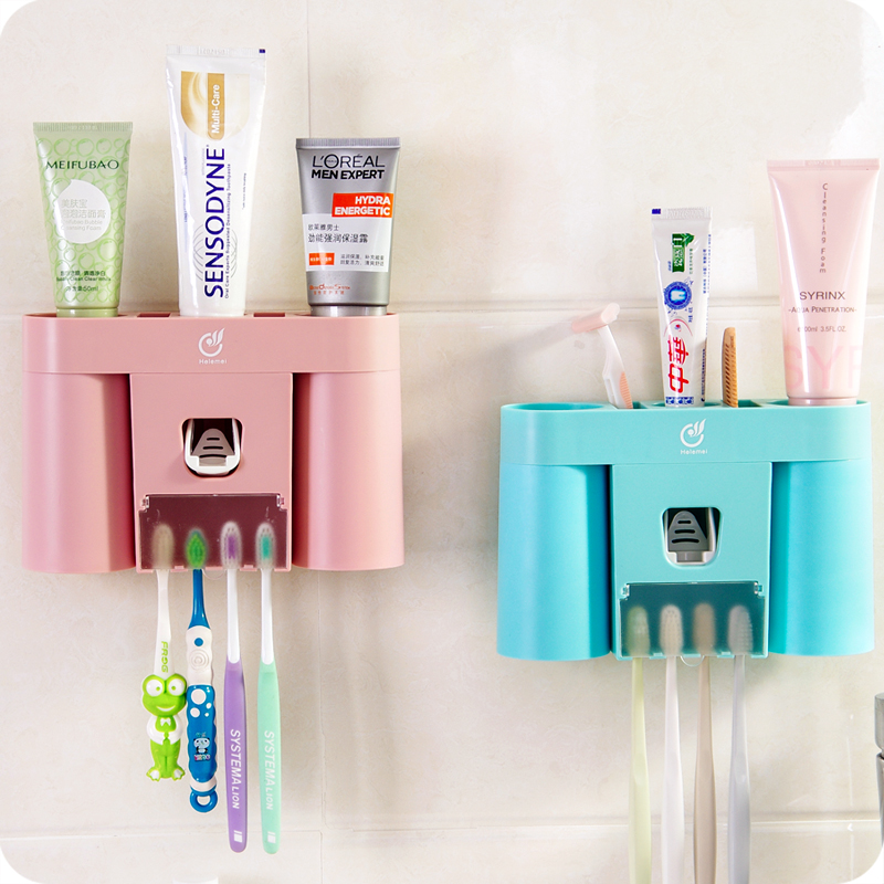 Bathroom Accessories Wall Mount Automatic Toothpaste Extruder Toothbrush Holder Box Two Rinse Cups Shelf In Cup Tumbler Holders From Home