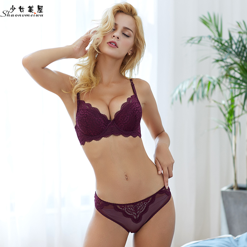 shaonvmeiwu Top and bottom thick small chest gather underwear sexy lace   bra     set   women thin style breast cover Europe and America