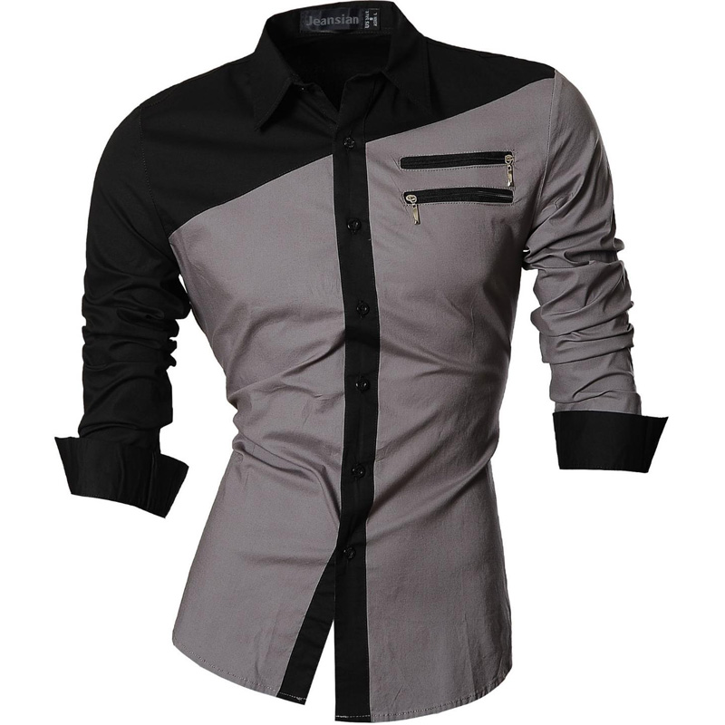 Jeansian Men's Casual Dress Shirts Fashion Desinger Stylish Long Sleeve Slim Fit 8371 Black2 5