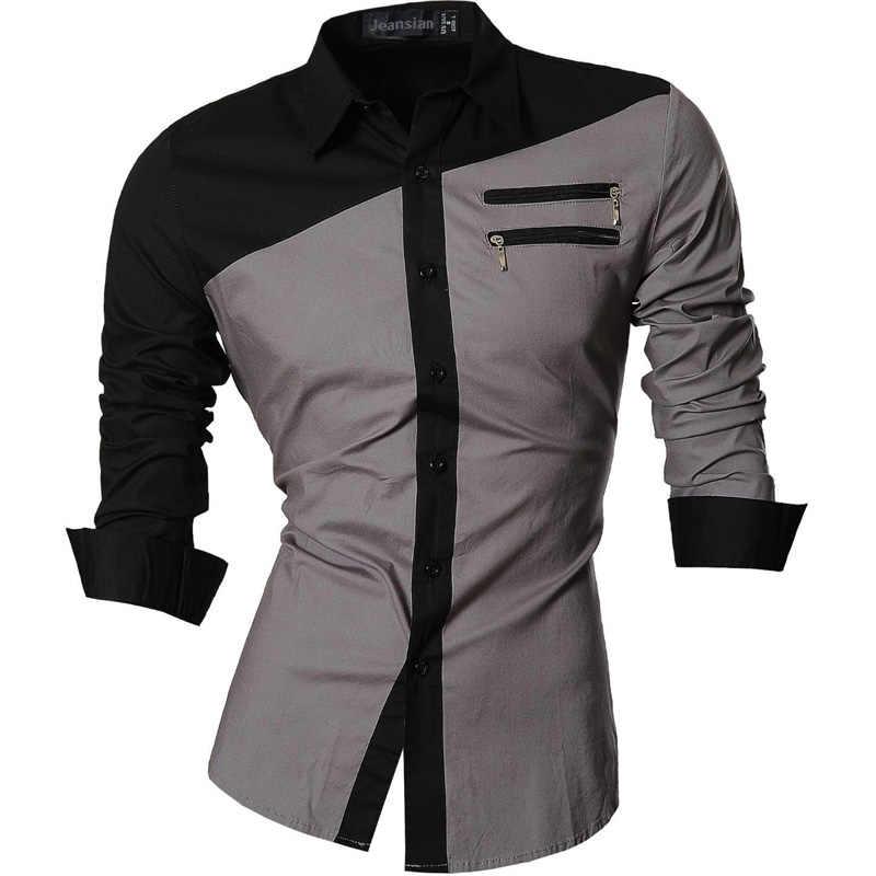Jeansian мужские повседневные платья рубашки модные Desinger Стильные с длинным рукавом Slim Fit 8615 Black2