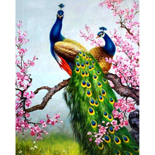 Peacock and flower diamond Embroidery diy painting mosaic diamant 3d cross stitch pictures H478