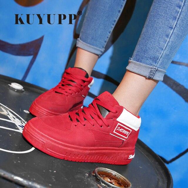 Las Mujeres ocasionales Atan Para Arriba Los Zapatos de Plataforma Transpirable Tapa Ocasional zapatos KUYUPP 2016 Otoño Primavera Moda de Encaje Hasta zapatillas de Skate YD158