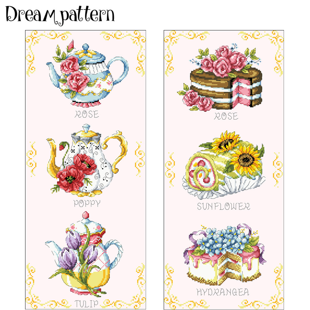 Aliexpress Buy Teapot Cake Cross Stitch Kit Cartoon Flower