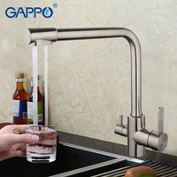 GAPPO Kitchen Faucet Water Purification Function Cold And Hot Water Mixer Solid Brass Nickle Brushed Crane