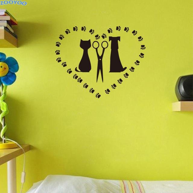 ZOOYOO Cat Dog And Scissors In Heart Shaped Wall Decal Pet Salon ...