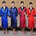 Reversible Dos Caras de los Nuevos hombres Chinos de Satén de Seda Robe Bordado Del Dragón Del Kimono Albornoz Vestido de la Correa Ropa de Dormir Un Tamaño 011306