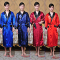 Reversible Two-Face New Chinese Men's Silk Satin Robe Embroidery Dragon Kimono Bathrobe Gown Sleepwear Belt One Size 011306