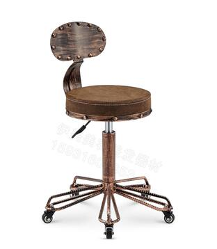 Iron bar chair. High stool. Makeup stool.. Vintage hairdressing stool.. spin the chair desk chair high chair american vintage old iron bar chair001
