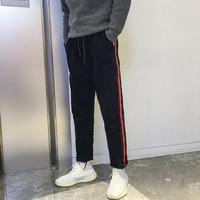 2017 Winter New Men Fashion Tide Japanese Style Corduroy Stripe Bound Feet Pants Casual High Quality