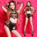 2017 Bar DS roupas fase traje sexy cantora de boate DJ dança jazz borla para a mulher