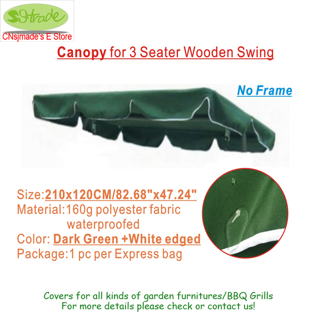 Canopy For 3 Seater Wooden Swing,Patio Swing Seat Ceiling Cloth Replacement,dark  Green