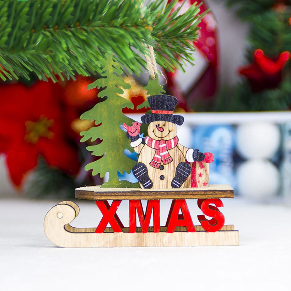 Diamond 2018 Santa Christmas Tree Christmas Pendant Cute Wood Sleigh Pendant Gift Home Hanging Decorations Drop Ornaments #25