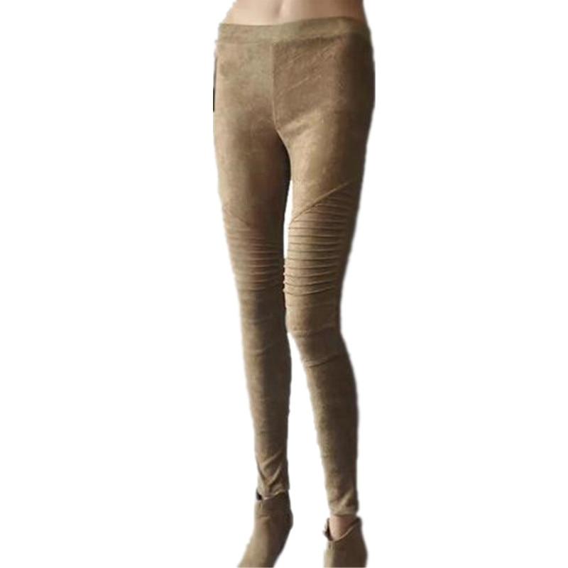 Faux Suede Leggings Sexy Skinny Pencil Pants Women 2017 2017 - Կանացի հագուստ