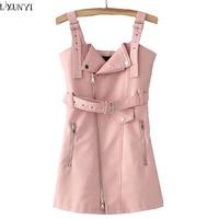 LXUNYI Autumn PU Sexy Leather Dresses Womens Pink Short Spaghetti Strap Dress Women Slim Zipper Faux