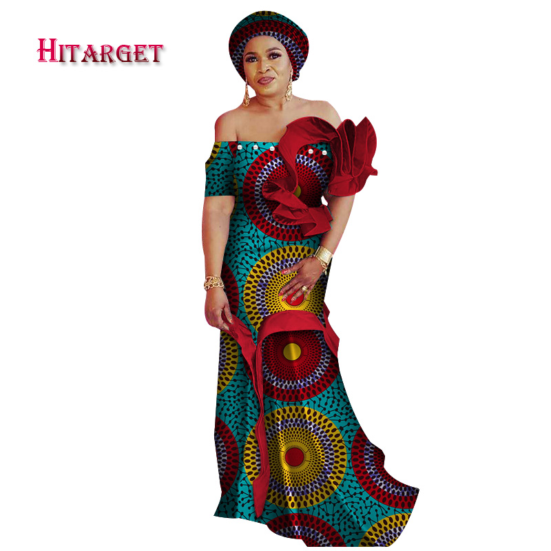 Dashiki African Dresses for Women Waistcoat Dress with Petal Sleeve for Party wedding Traditional African Women Dresses WY4110 in Africa Clothing from Novelty Special Use