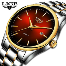 LIGE Top Brand Luxury Men Watch Gold  Stainless Steel Waterproof Watch Sport Quartz Mens WristWatch Clock Relogio Masculino Saat relogio masculino casima gold quartz watch men top brand luxury business calendar wrist watch mens dress clock saat montre homme