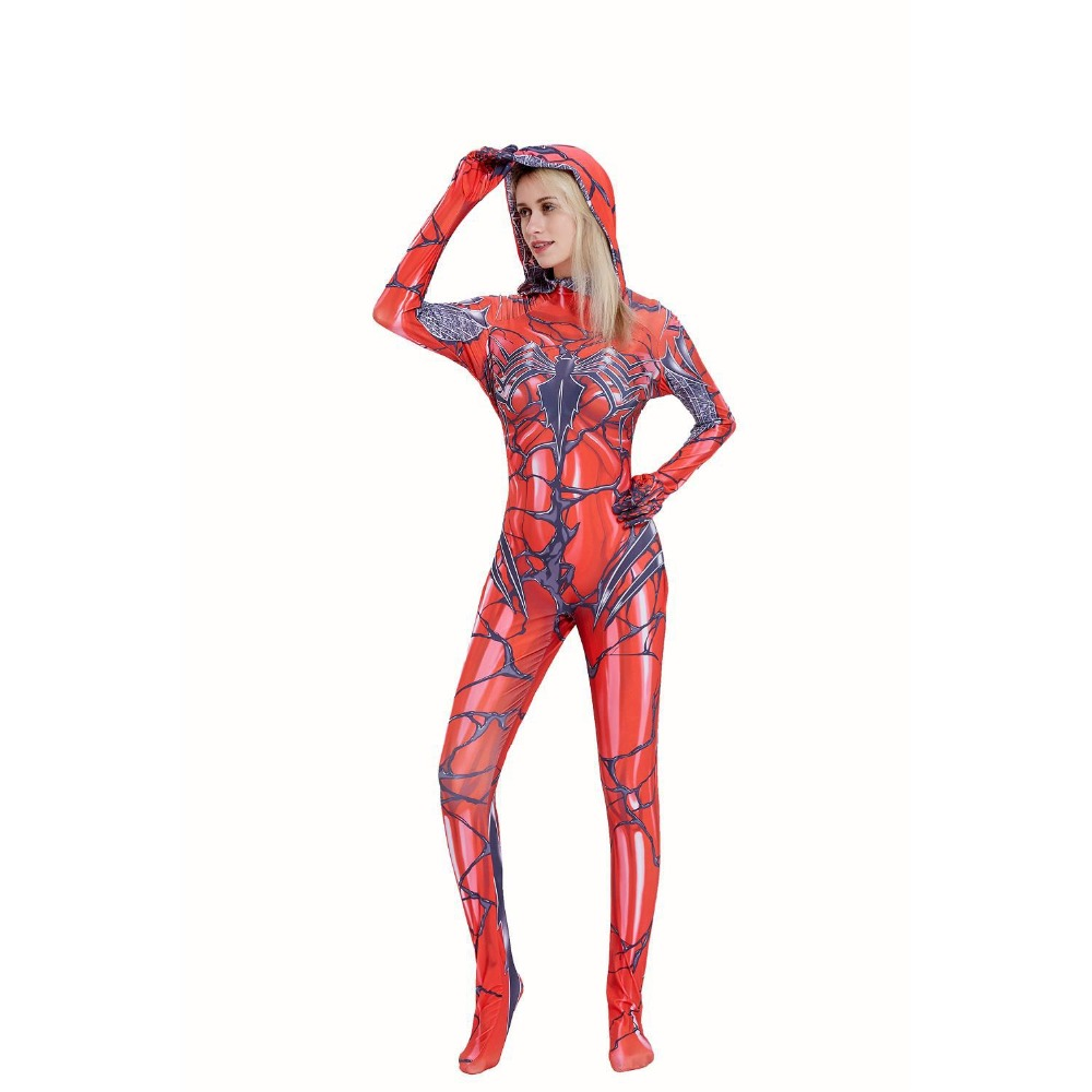 Movie Spider Gwen Venom Red Jumpsuit Cosplay Costume Women Superhero Printing Bodysuit Zentai Tight Catsuit Halloween Costume