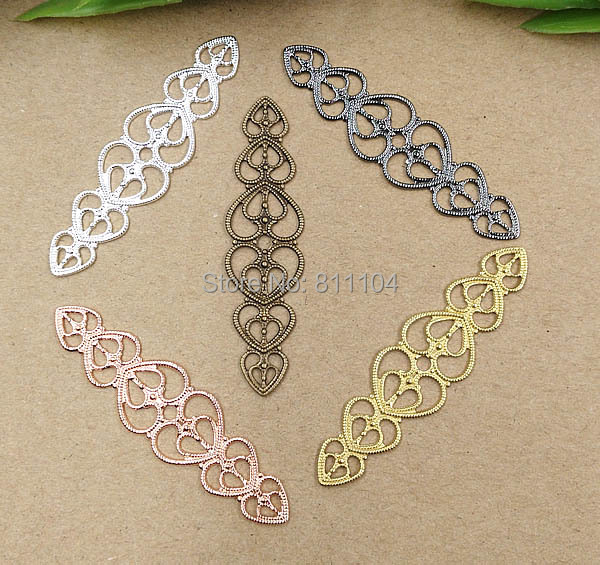 15x57mm Multi-color Plated Brass Metal Blank Flat Filigree Heart Flower Links Wraps Connectors Jewelry Findings Connectors