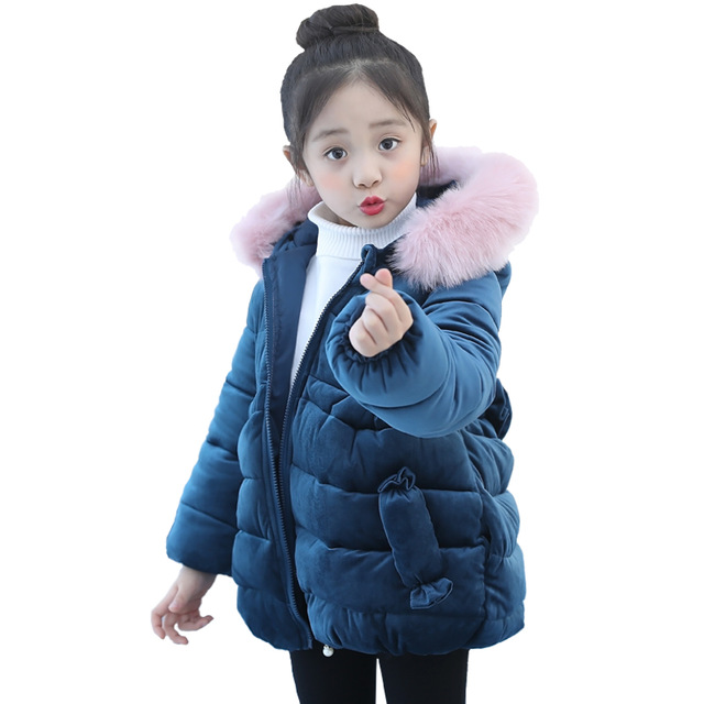 Girls winter jacket coat baby baby children kids velvet tops parka long snowsuit down cotton pad clothes pink fur collar coat girls winter jacket coat baby children kids warm parka long snowsuit down cotton pad clothes color fur collar hooded jacket