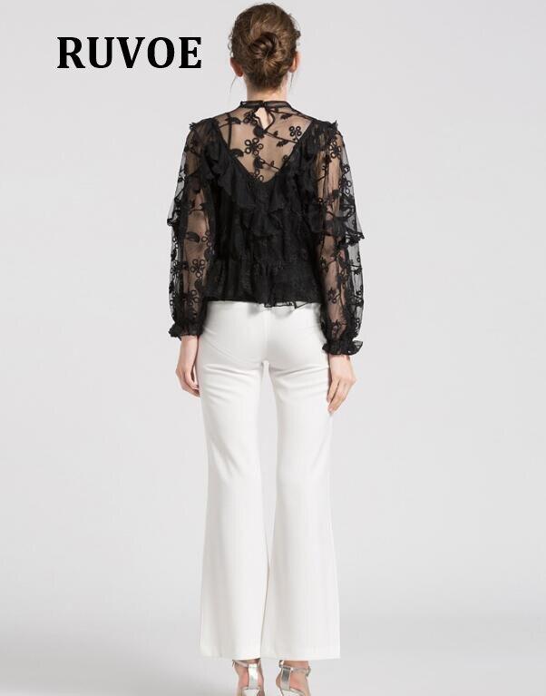 Vêtements 2018 Automne Chemises blanc Nouveau Courtes Noir Sexy Dentelle Blouses Floral À Blusas Tee Manches Blouse Femmes Tops Sheer Eté CqnPRC4