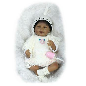 Nicery 20-22inch 50-55cm Bebe Reborn Doll Indian Style Soft Silicone Boy Girl Reborn Baby Doll Toy Gift for Child White Sweater