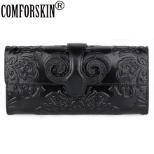 COMFORSKIN Cowhide Leather Retro Unique Embossed Floral Woman Purse Famous Brand Long Cover Style Large Capacity Women Wallets
