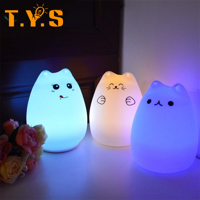 Cartoon Cat Led Night Light for Kids Rooms Christmas Lights Animals  Decorative Cat Desk Silicone Lamp - Cartoon Cat Led Night Light For Kids Rooms Christmas Lights Animals