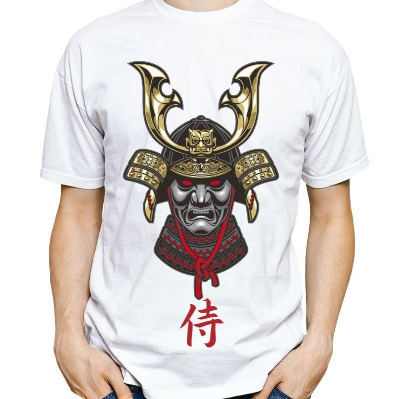 Mens White Short Sleeve T-shirt Soft Comfortable Shirt Exclusive Casual Japanese Warrior Samurai Letter T-Shirt Summer Style