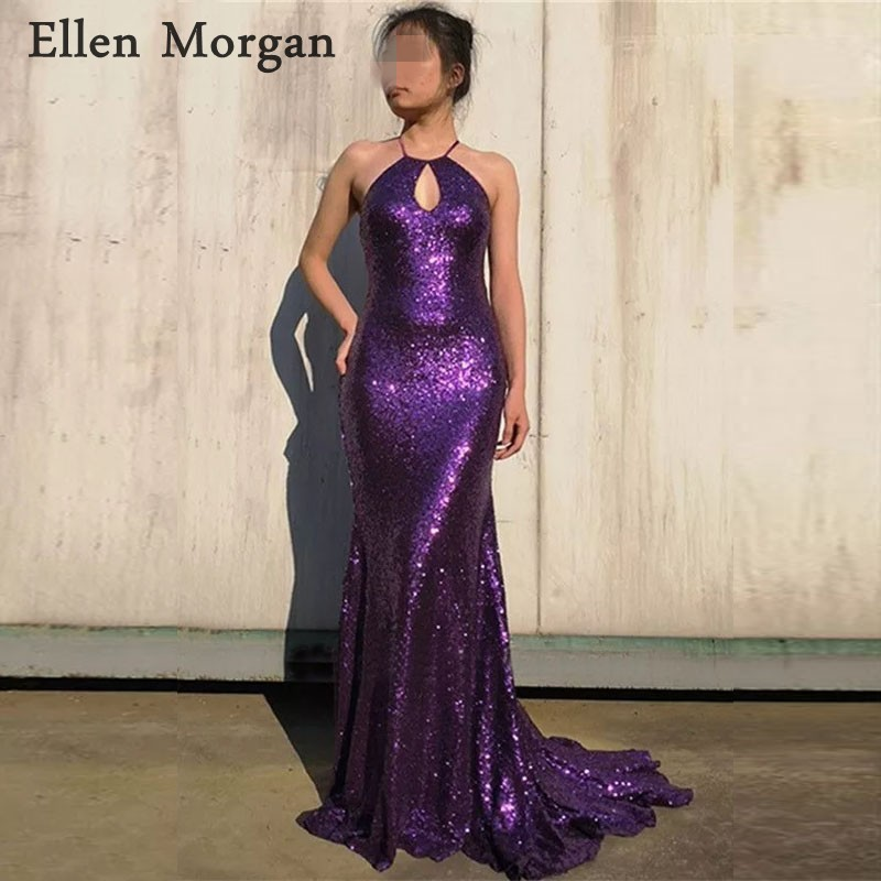 Purple Long Backless Mermaid   Prom     Dresses   for African Black Girls Vestido De Festa Court Train Sexy Party Gowns for Women