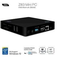 Original Z83II Mini 2G 32G Smart TV Box PC Intel Atom x5 Z8350 Quad Core Wins 10 2.4G 5.8G WiFi Set Top Box TV Box