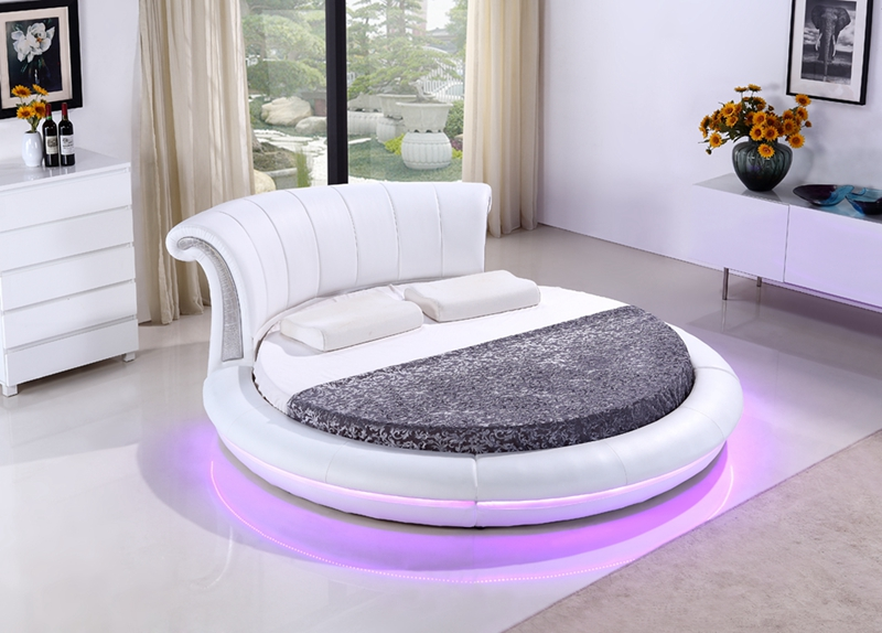 contemporary modern leather LED round bed wireless remote control bedroom furniture Made in China led remote control audio contemporary modern leather sleeping bed king size bedroom furniture made in china