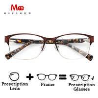 MEESHOW women Stainless steel optical frame Diamond Eyeglasses Lunettes Custom lens Prescription Glasses with case