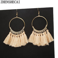 Handmade Earrings Tassel Bohemia Style for Women Vintage Long Drop Earrings colorful Wedding Bridal Jewelry Gift Fringe new A67(China)