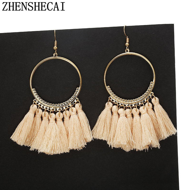 Handmade Earrings Tassel Bohemia Style for Women Vintage Long Drop Earrings colorful Wedding Bridal Jewelry Gift Fringe new A67