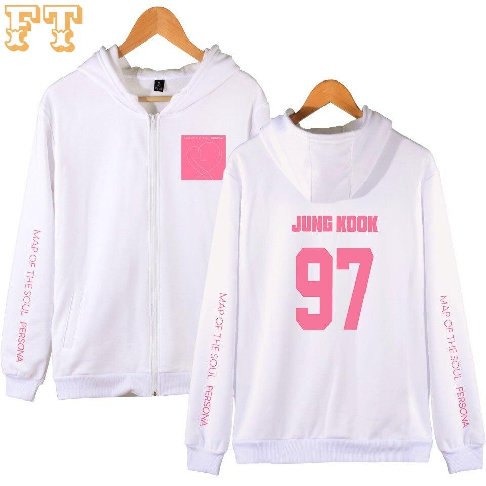 BTS Map Of The Soul Persona Hoodies Women Zipper Casual Kpop Streetwear Fashion Girl Tops Creative Winter Hoodie Sweatshirt