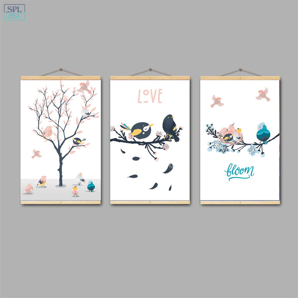 SPLSPL Framed Nordic Hand Drawn Cartoon Picture Lucky Birds Animal Canvas Art Print A4 Poster and Painting Ornamentation