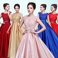 Color de rosa/Rojo/Oro/Azul Del Cordón Rhinestone Con Cuentas de Raso de Novia Vestidos de Noche Robe De Soirée Fiesta fin de curso Formal vestidos Vestido Longo GF114