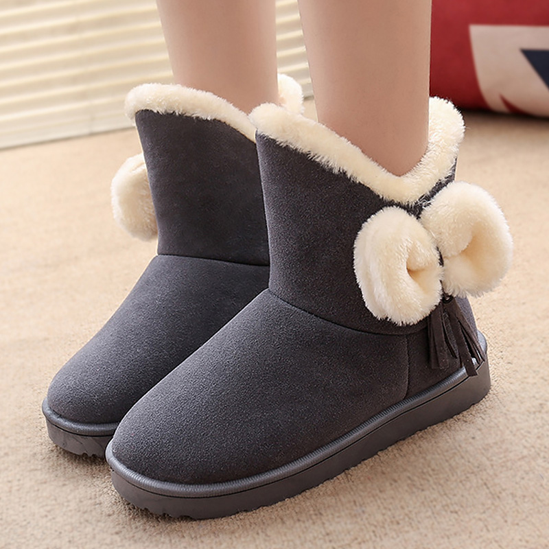 Women snow boots 2018 new fashion style bow women winter boots solid color round toe warm ankle boots women shoes