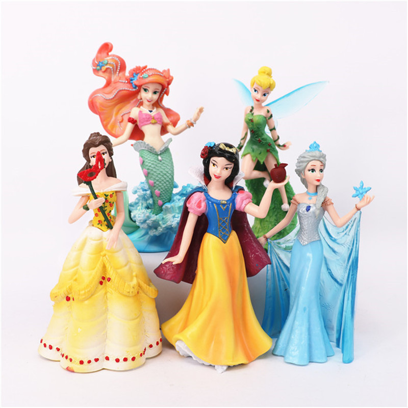 13-15cm PVC Princess Doll Action Figure Toy Elsa Ariel Belle Snow White Dolls Anime Model Figures Hot Toys Brinquedos Girls Gift original aladdin and the magic lamp action figures toy aladdin jasmine princess model doll