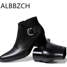 Dress-Shoes Work-Boots Winter Men Buckle-Design Business Pointed-Toe High-Heels Fashion