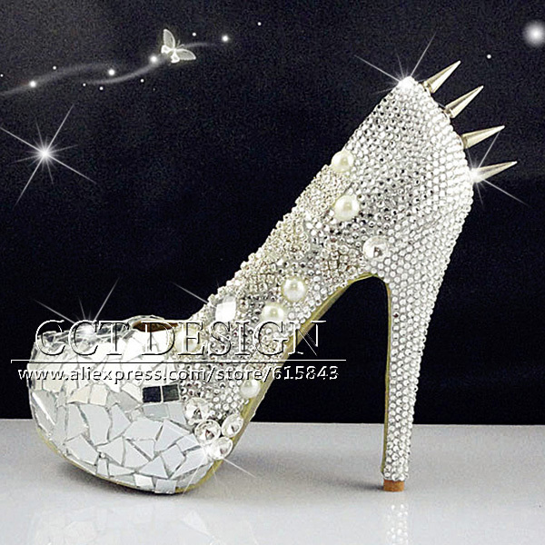 2016 Sexy Women Shoes Rhinestone Rivet High Heels Wedding Party Prom Shoes With Silver Spikes Rivet Pumps Free Shipping 2015 sexy women black rhinestone rivet high heels wedding party prom shoes with silver spikes rivet pumps free shipping