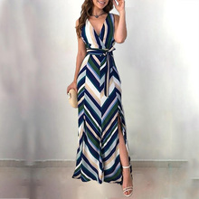 Women Fashion Elegant Wrapped Side Slit Long Party Dress Chevron Stripes Backless Belted Slit Casual Maxi Dress ropa mujer