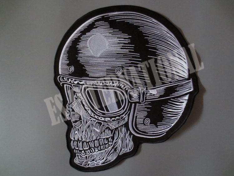 12,4 cala hełm czaszki duże naszywki do haftowania kurtki z tyłu - Sztuka, rękodzieło i szycie