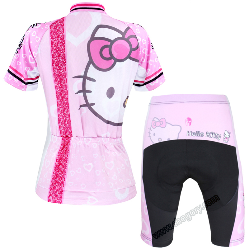 Lovely Hello Kitty cycling jersey pink short sleeve full Zipper bike  clothing large size sports jerseys for womens-in Cycling Jerseys from  Sports ... 0e2f63b39