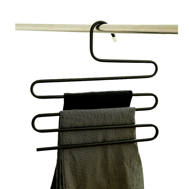 5 Tier Stainless Steel S Type Pants Hangers Magic Hanger Trouser Tie Scarfs Belt Towel Non-slip Storage Rack 3 Color Hot Sale