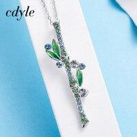 Cdyle Women Necklace Pendant S925 Sterling Silver Fashion Jewelry Enamel Bamboo Shape Australian Rhinestone Paved Bijous